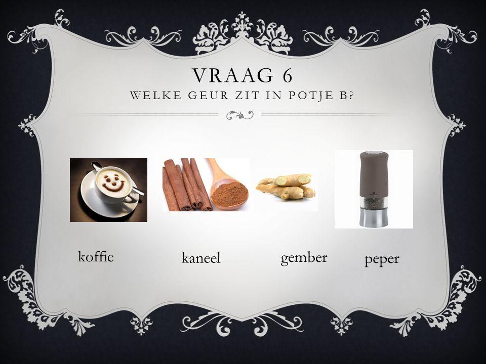 Vraag 6 Welke geur zit in potje B