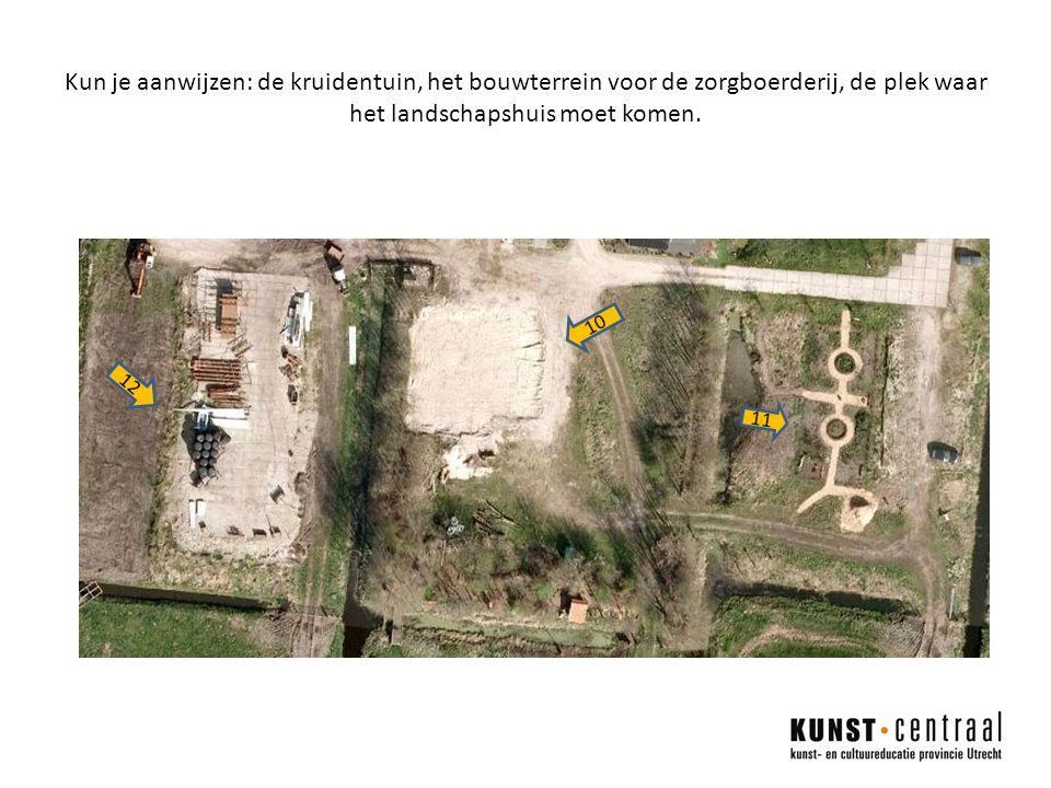 Kun je aanwijzen: de kruidentuin, het bouwterrein voor de zorgboerderij, de plek waar het landschapshuis moet komen.