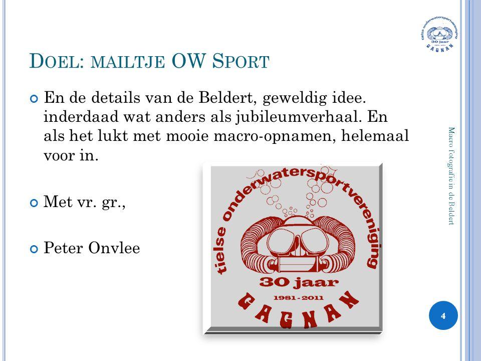 Doel: mailtje OW Sport