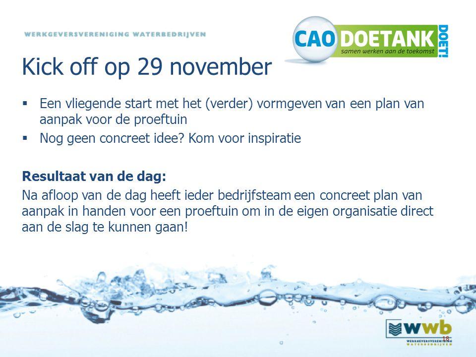 Kick off op 29 november Een vliegende start met het (verder) vormgeven van een plan van aanpak voor de proeftuin.