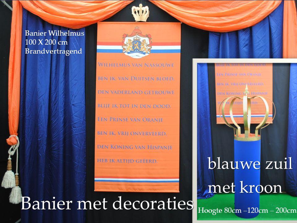 Banier met decoraties blauwe zuil met kroon Banier Wilhelmus