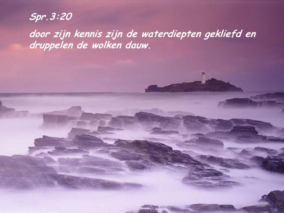 Spr.3:20 door zijn kennis zijn de waterdiepten gekliefd en druppelen de wolken dauw.