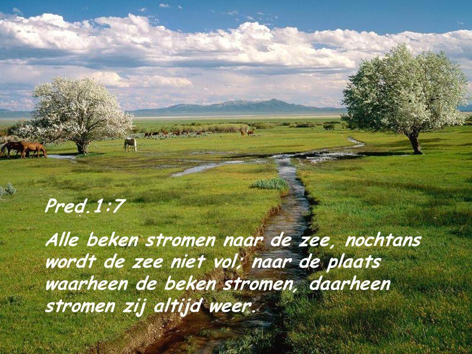 Pred.1:7 Alle beken stromen naar de zee, nochtans wordt de zee niet vol; naar de plaats waarheen de beken stromen, daarheen stromen zij altijd weer.