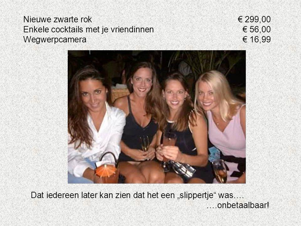 Nieuwe zwarte rok € 299,00 Enkele cocktails met je vriendinnen € 56,00. Wegwerpcamera € 16,99.