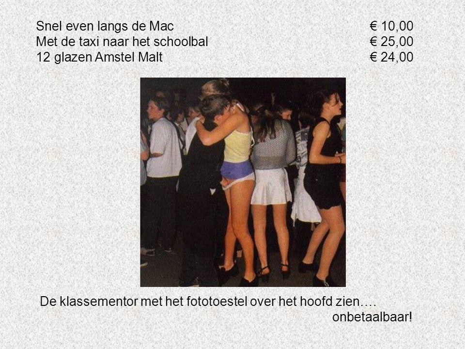 Snel even langs de Mac € 10,00 Met de taxi naar het schoolbal € 25,00. 12 glazen Amstel Malt € 24,00.