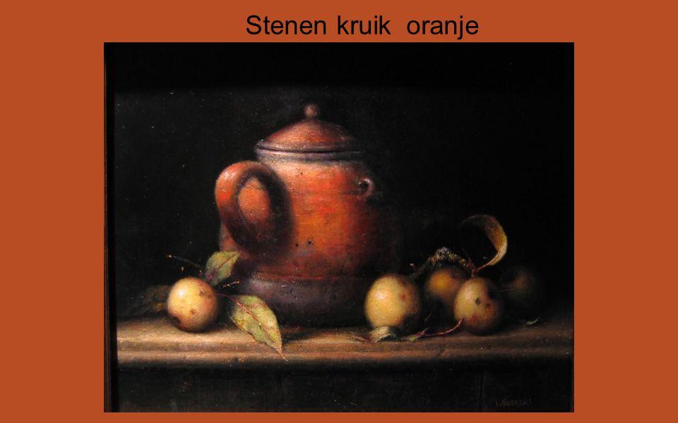 Stenen kruik oranje