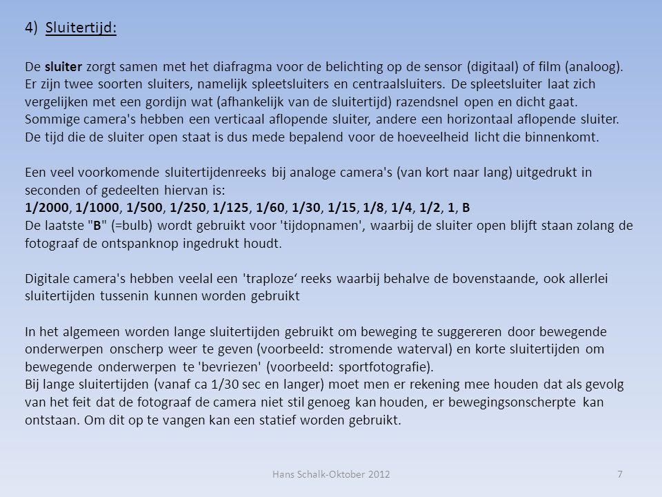 4) Sluitertijd: