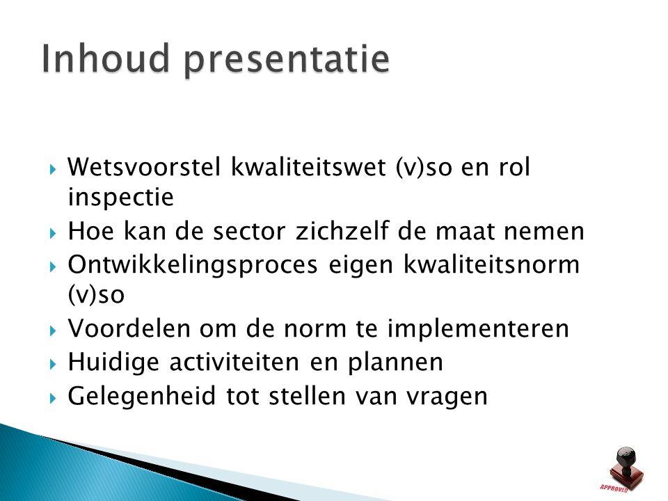 Inhoud presentatie Wetsvoorstel kwaliteitswet (v)so en rol inspectie