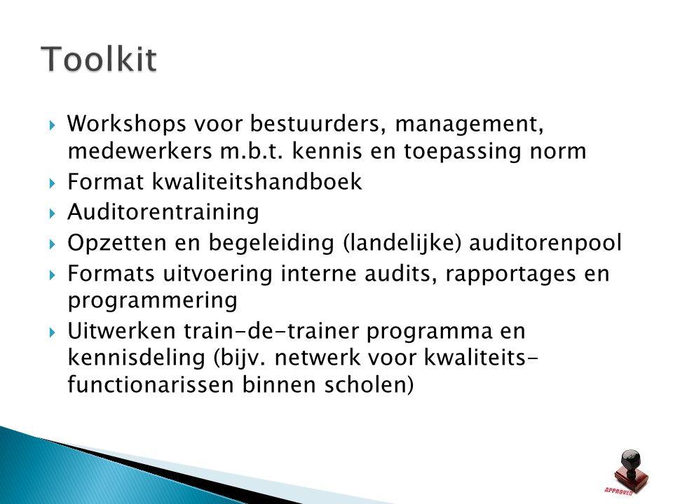 Toolkit Workshops voor bestuurders, management, medewerkers m.b.t. kennis en toepassing norm. Format kwaliteitshandboek.