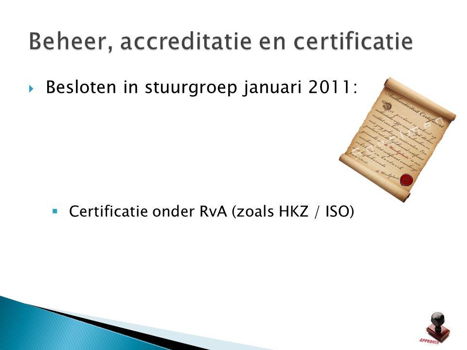 Beheer, accreditatie en certificatie