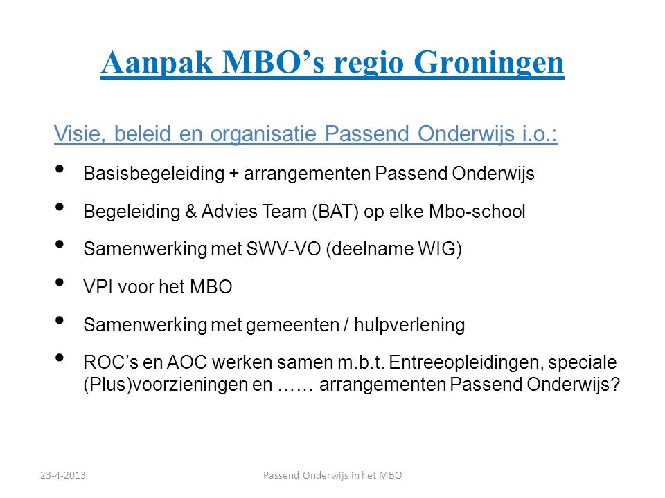 Aanpak MBO's regio Groningen