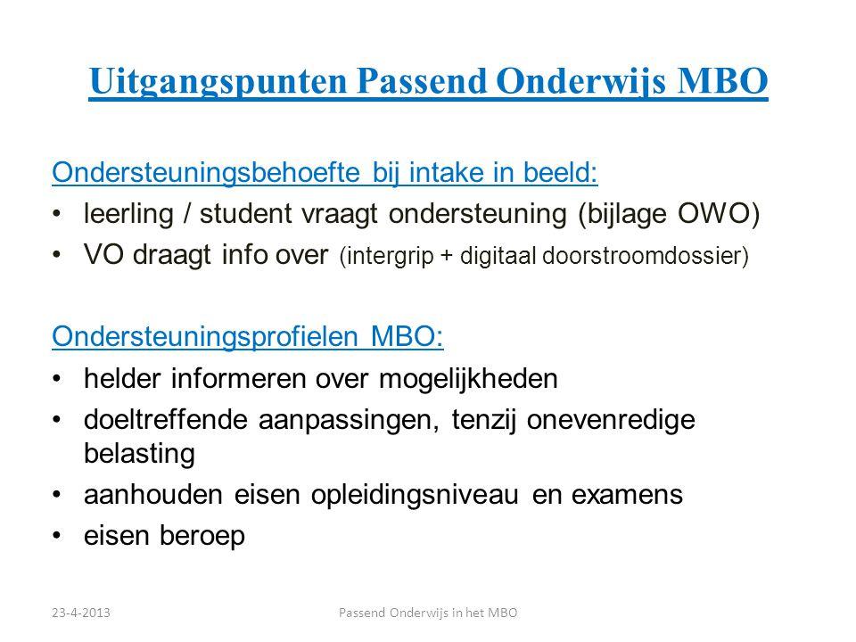 Uitgangspunten Passend Onderwijs MBO