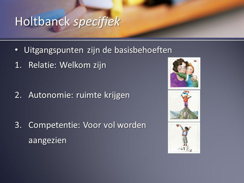 Holtbanck specifiek Uitgangspunten zijn de basisbehoeften