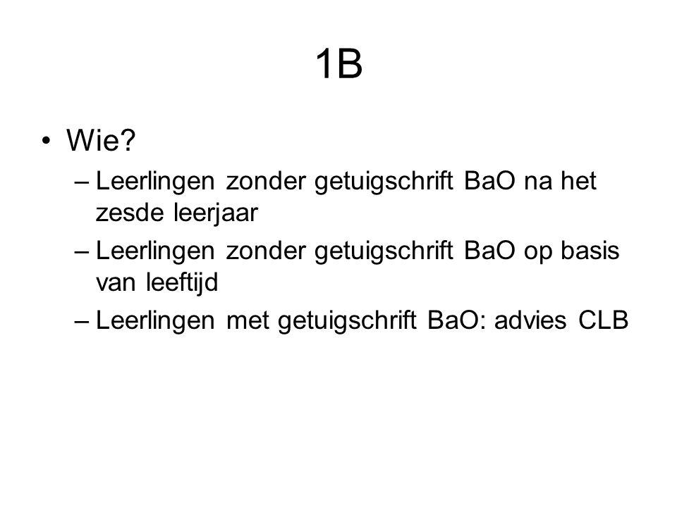 1B Wie Leerlingen zonder getuigschrift BaO na het zesde leerjaar