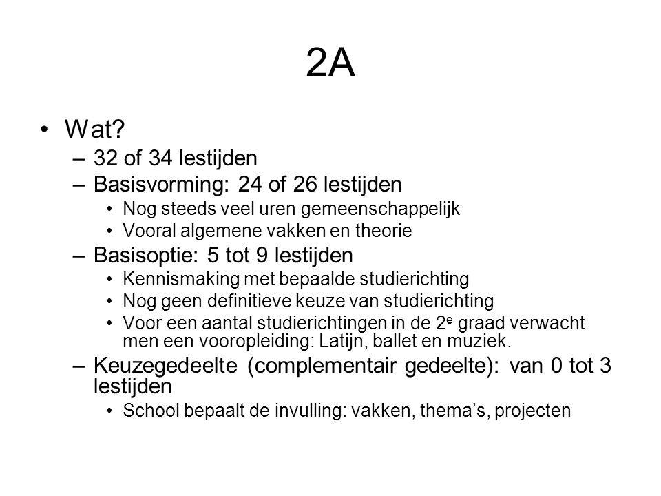 2A Wat 32 of 34 lestijden Basisvorming: 24 of 26 lestijden