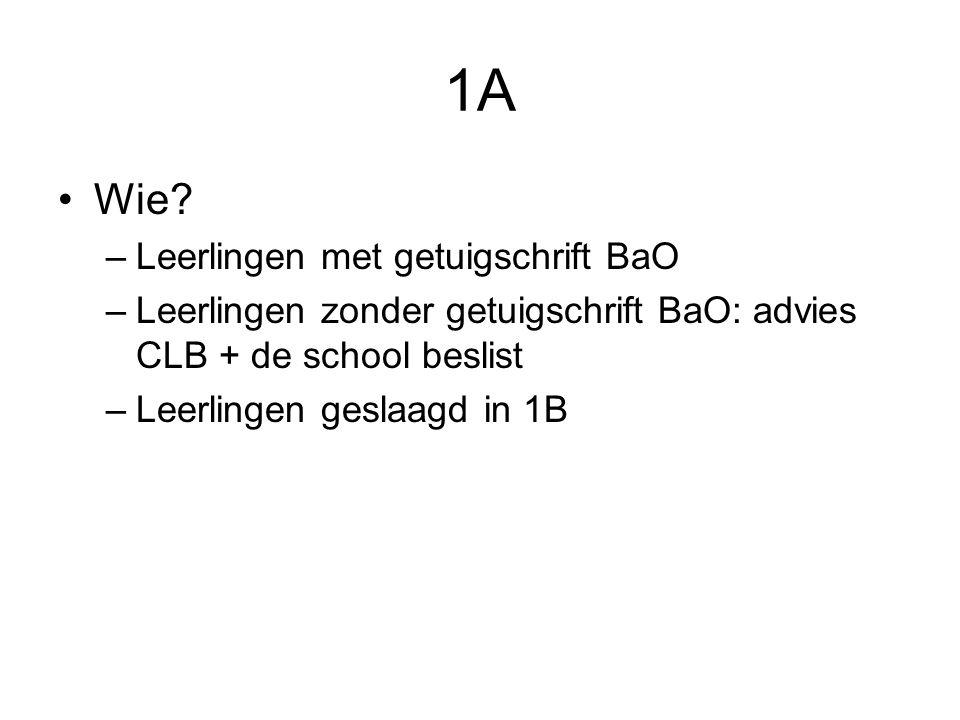 1A Wie Leerlingen met getuigschrift BaO