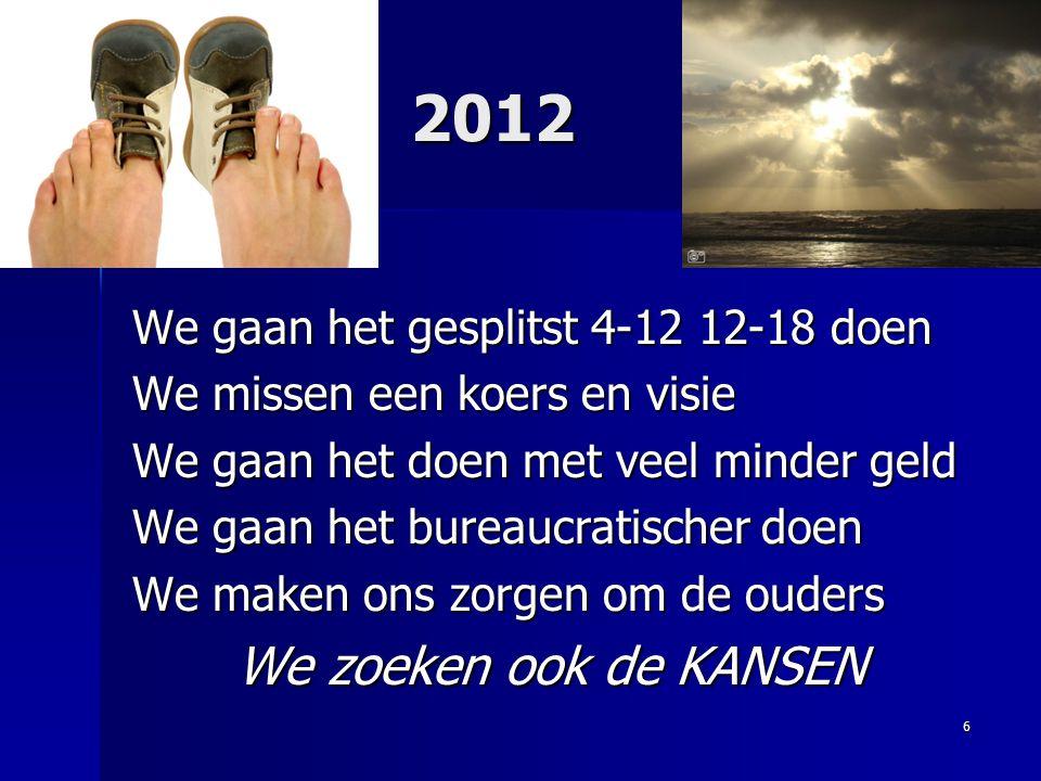 2012 We zoeken ook de KANSEN We gaan het gesplitst 4-12 12-18 doen
