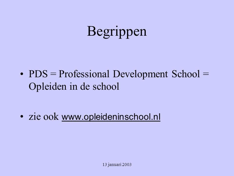 Begrippen PDS = Professional Development School = Opleiden in de school. zie ook www.opleideninschool.nl.