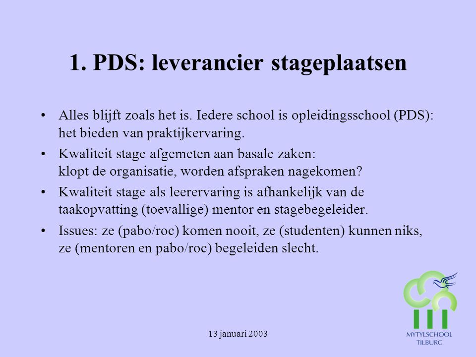 1. PDS: leverancier stageplaatsen
