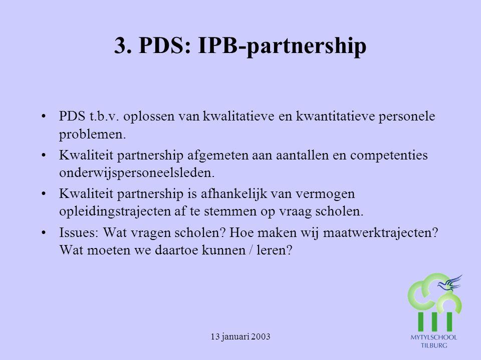 3. PDS: IPB-partnership PDS t.b.v. oplossen van kwalitatieve en kwantitatieve personele problemen.