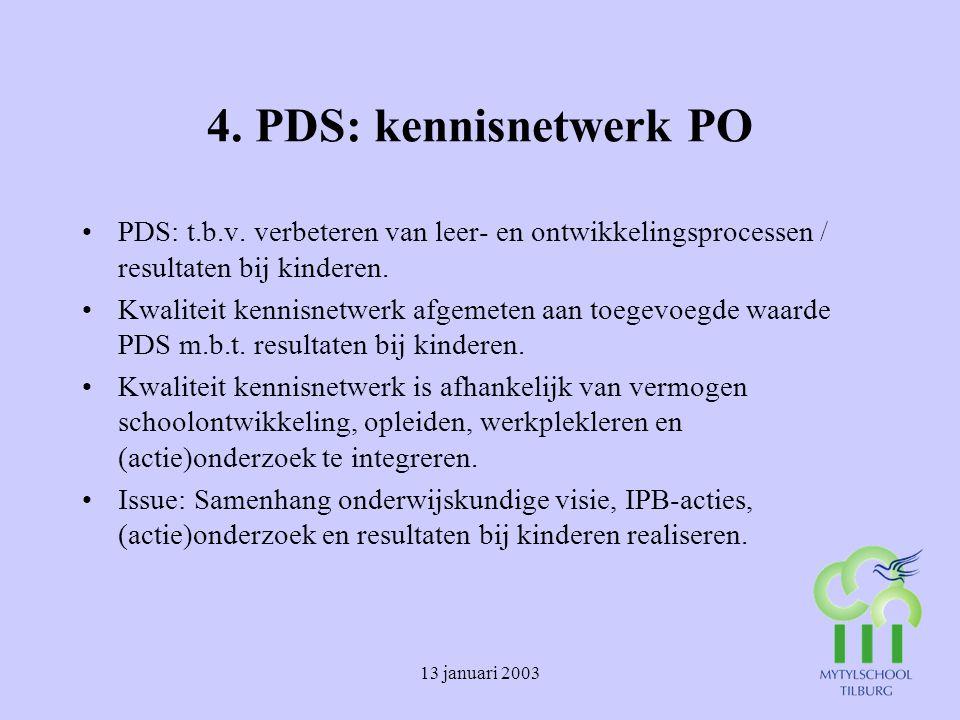 4. PDS: kennisnetwerk PO PDS: t.b.v. verbeteren van leer- en ontwikkelingsprocessen / resultaten bij kinderen.
