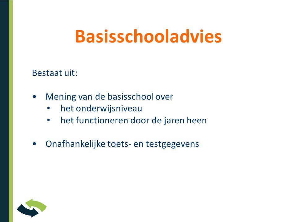 Basisschooladvies Bestaat uit: Mening van de basisschool over