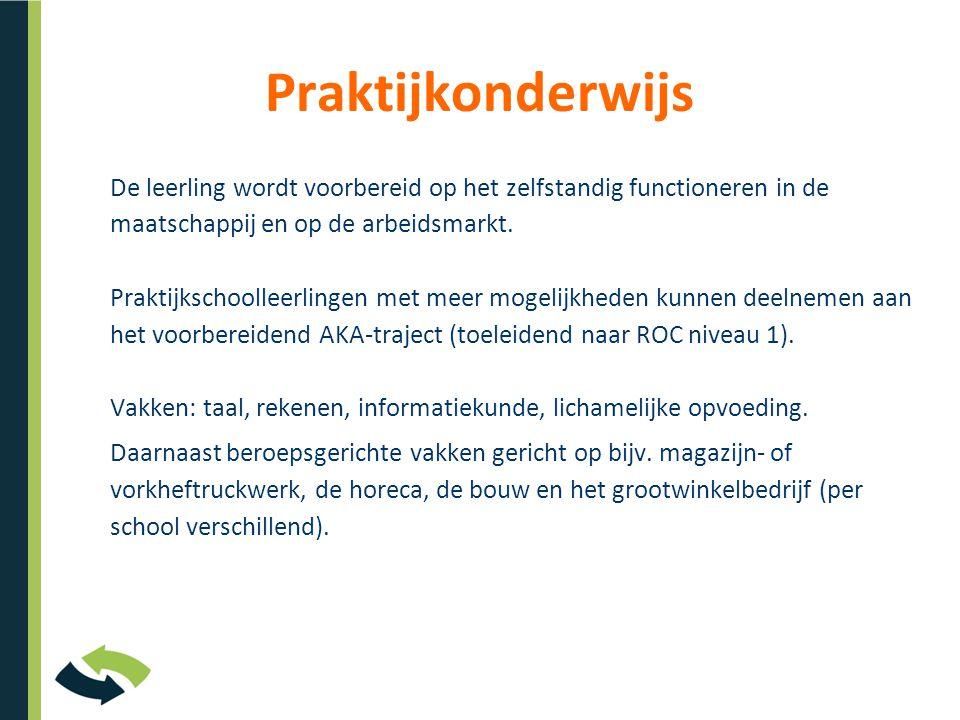 Praktijkonderwijs De leerling wordt voorbereid op het zelfstandig functioneren in de maatschappij en op de arbeidsmarkt.