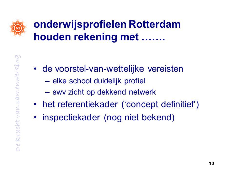 onderwijsprofielen Rotterdam houden rekening met …….