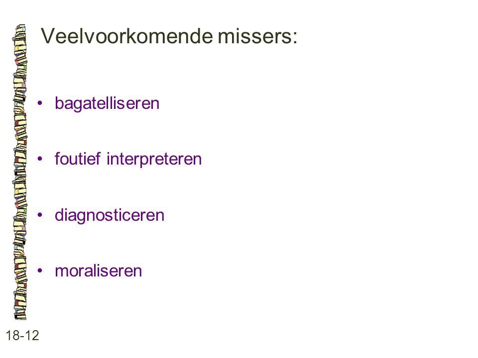 Veelvoorkomende missers: