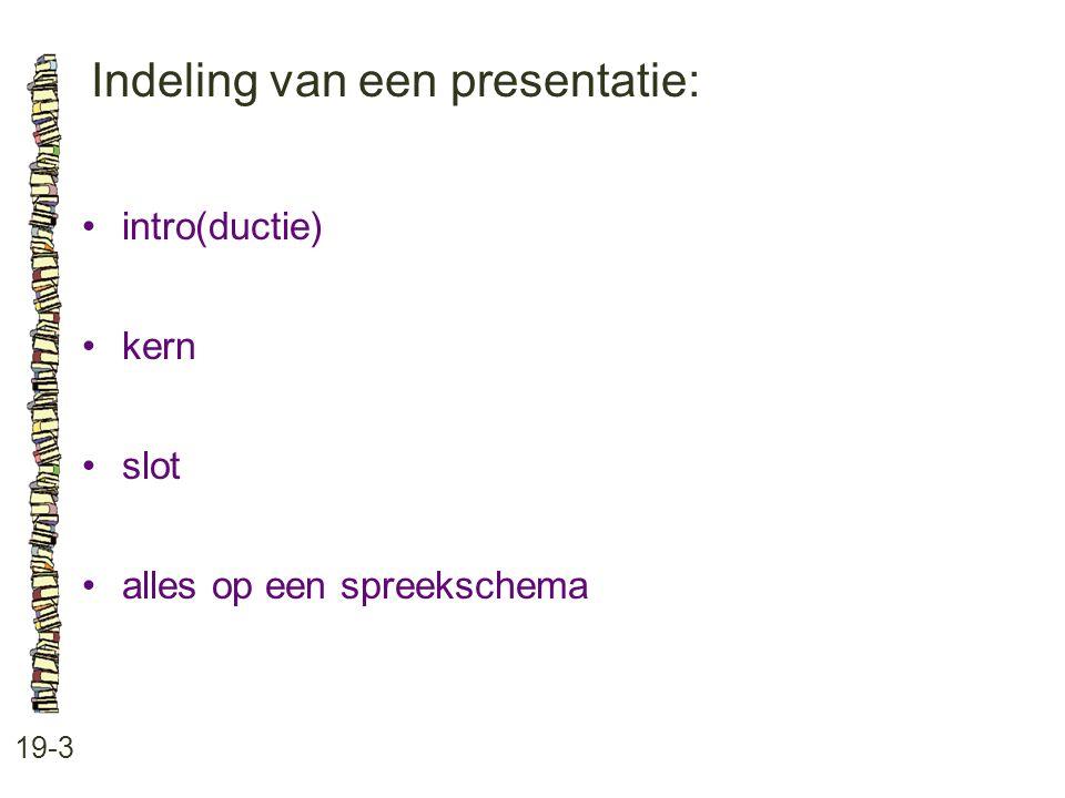 Indeling van een presentatie:
