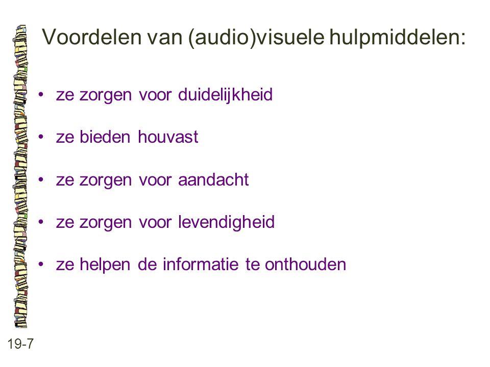 Voordelen van (audio)visuele hulpmiddelen: