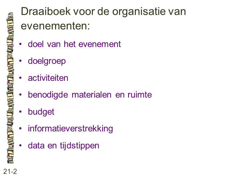 Draaiboek voor de organisatie van evenementen: