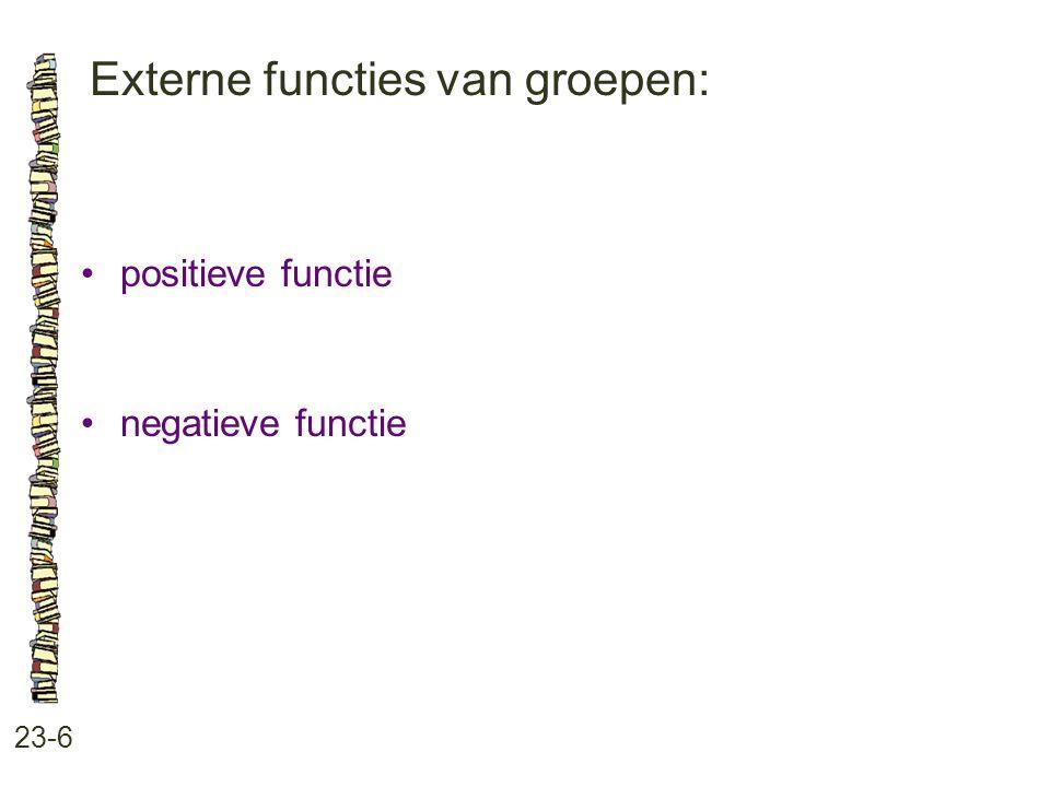 Externe functies van groepen: