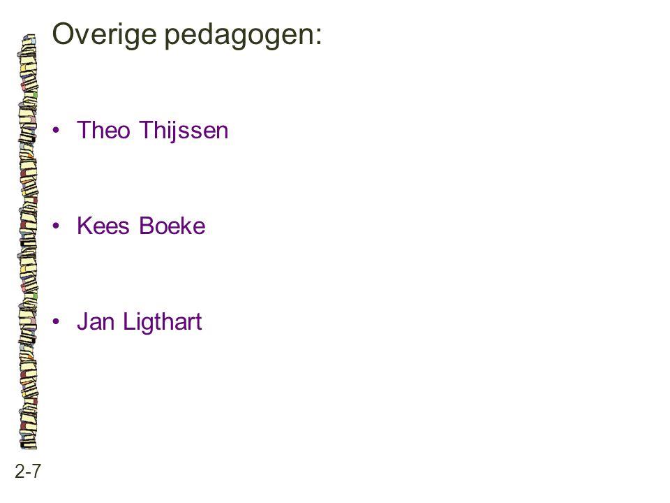 Overige pedagogen: • Theo Thijssen • Kees Boeke • Jan Ligthart 2-7
