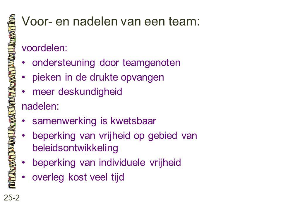 Voor- en nadelen van een team: