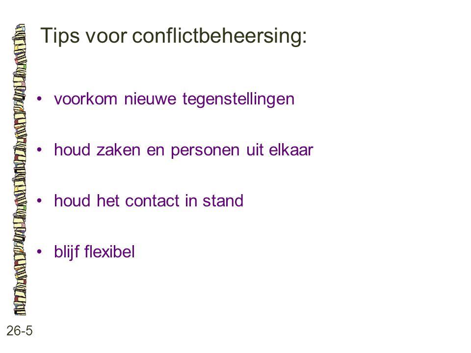 Tips voor conflictbeheersing: