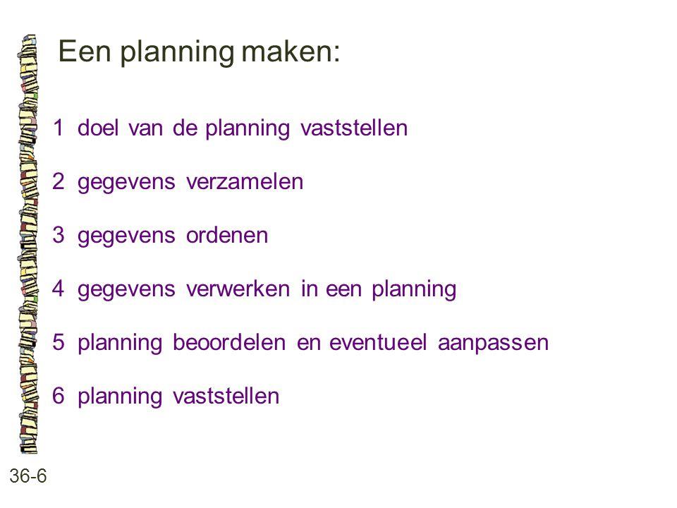 Een planning maken: 1 doel van de planning vaststellen