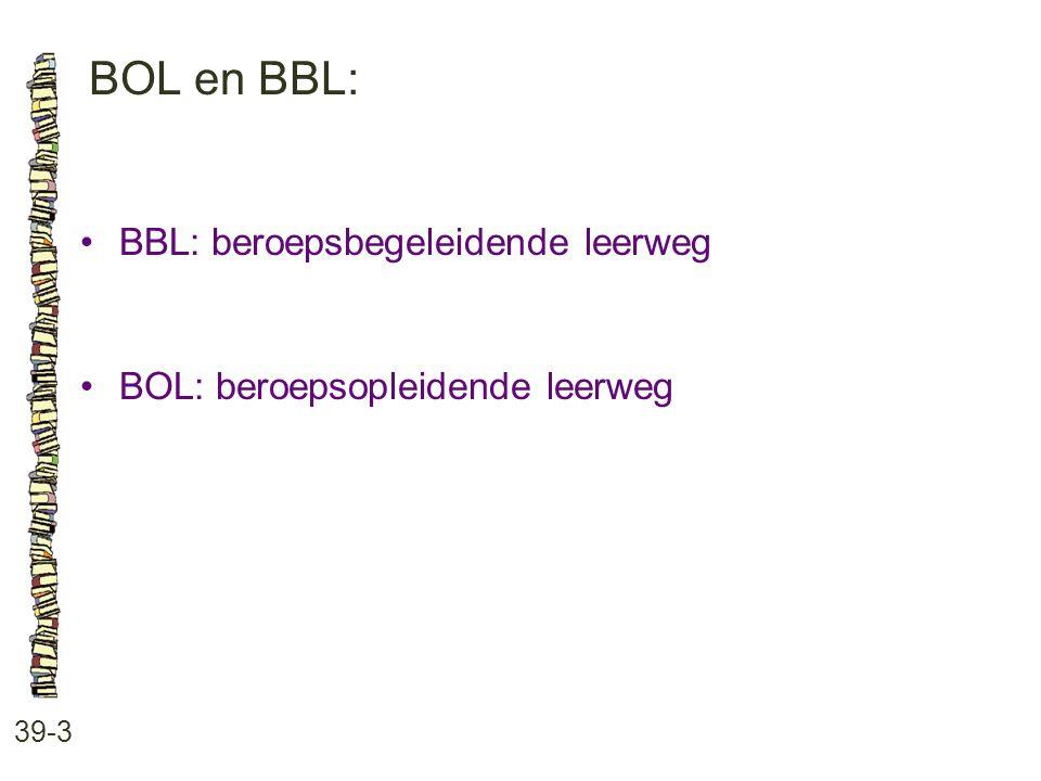 BOL en BBL: BBL: beroepsbegeleidende leerweg