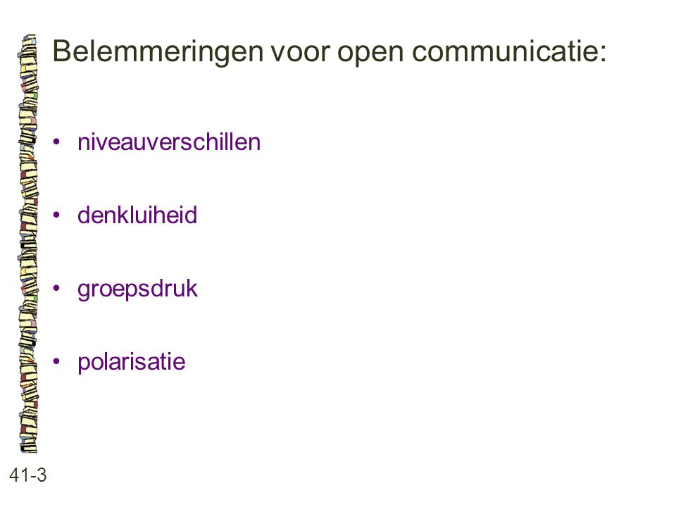 Belemmeringen voor open communicatie: