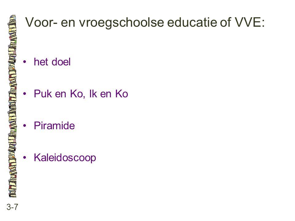 Voor- en vroegschoolse educatie of VVE: