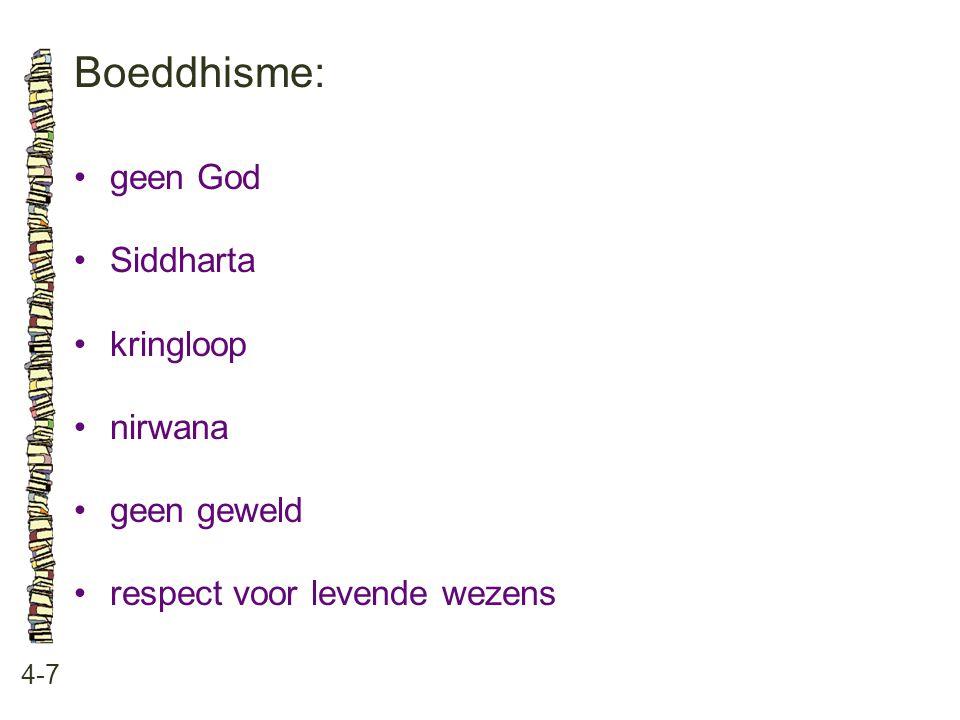 Boeddhisme: • geen God • Siddharta • kringloop • nirwana • geen geweld