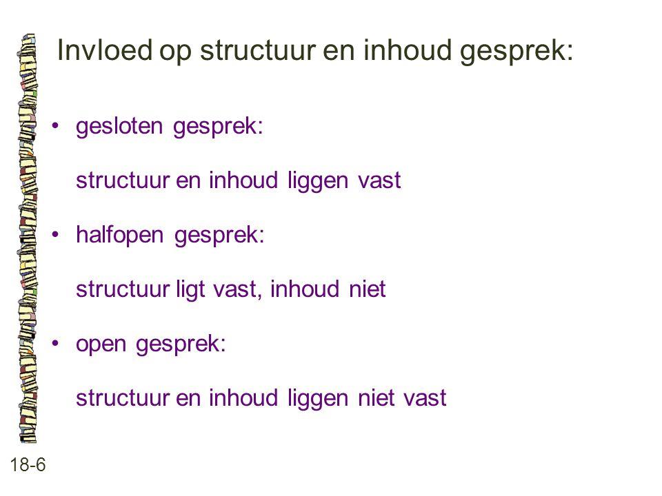 Invloed op structuur en inhoud gesprek: