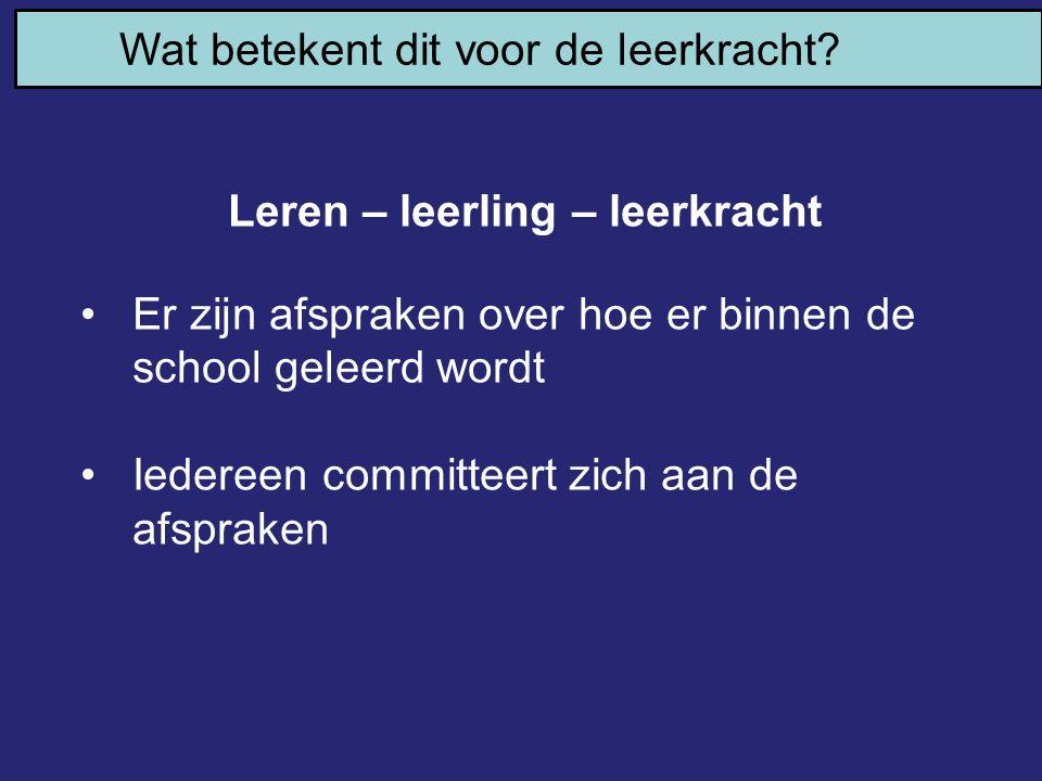 Leren – leerling – leerkracht