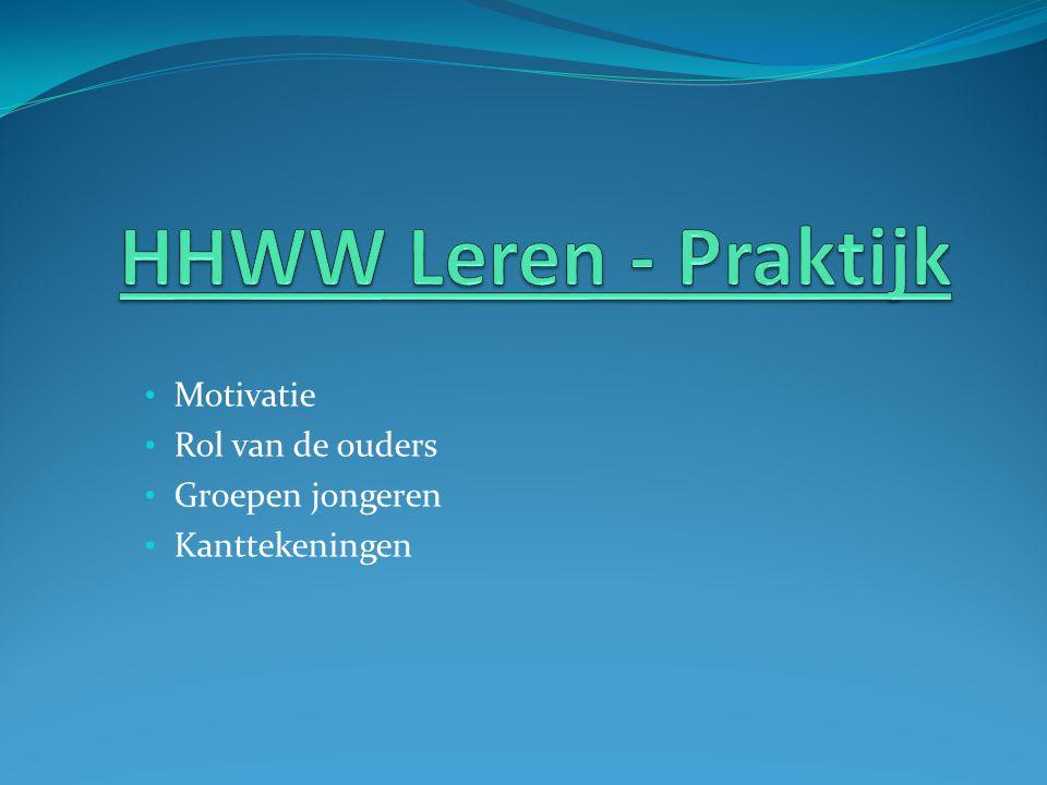 HHWW Leren - Praktijk Motivatie Rol van de ouders Groepen jongeren