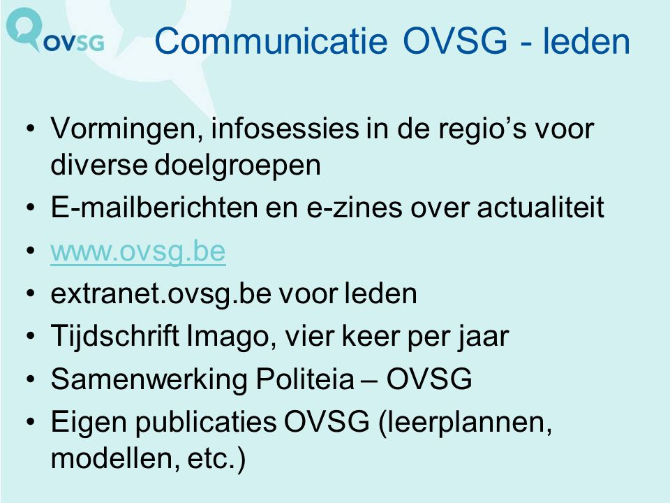Communicatie OVSG - leden