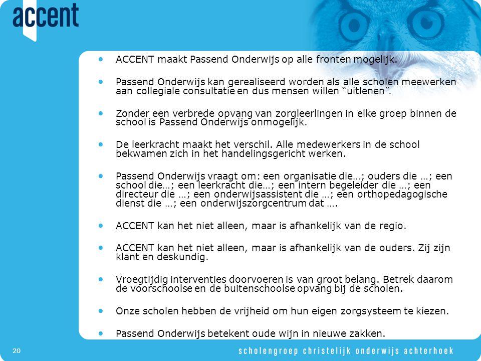 ACCENT maakt Passend Onderwijs op alle fronten mogelijk.