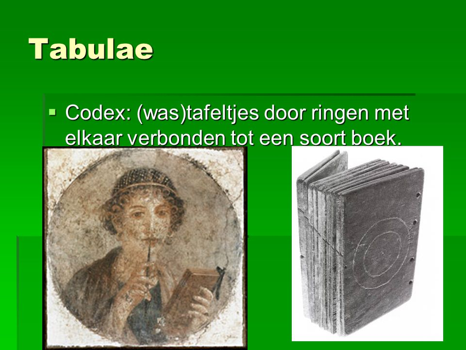 Tabulae Codex: (was)tafeltjes door ringen met elkaar verbonden tot een soort boek.