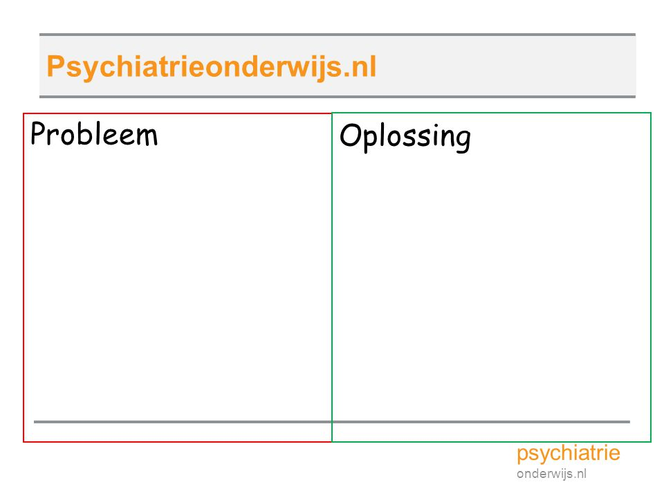 Psychiatrieonderwijs.nl Probleem Oplossing psychiatrie onderwijs.nl 16