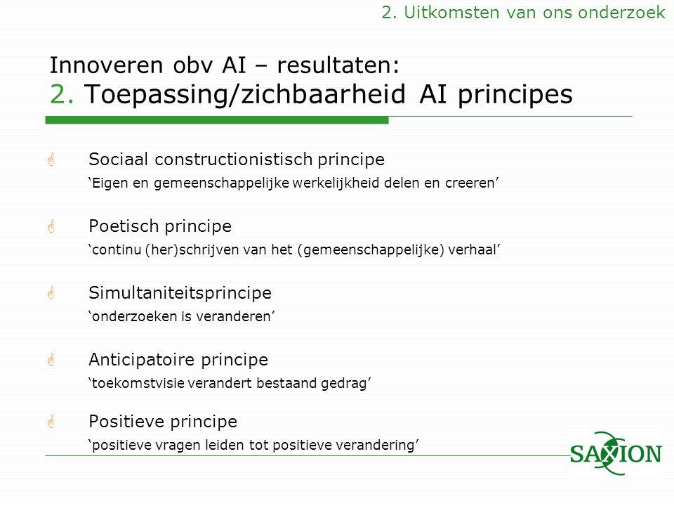 Innoveren obv AI – resultaten: 2. Toepassing/zichbaarheid AI principes