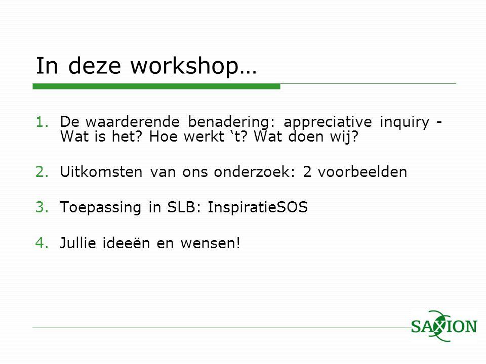 In deze workshop… De waarderende benadering: appreciative inquiry -Wat is het Hoe werkt 't Wat doen wij